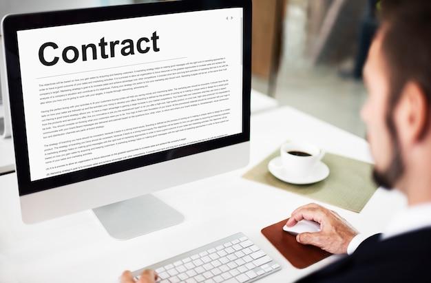 Concepto de acuerdo legal de términos de contratos comerciales