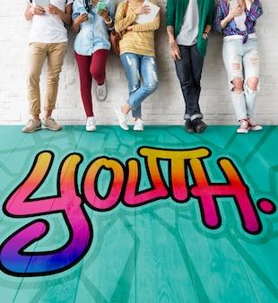 Concepto de la adolescencia del estilo de vida de los adolescentes jóvenes de la juventud