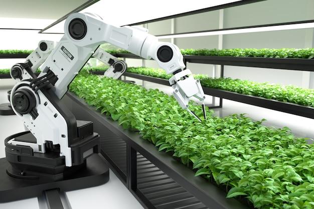 Concepto de agricultores robóticos inteligentes