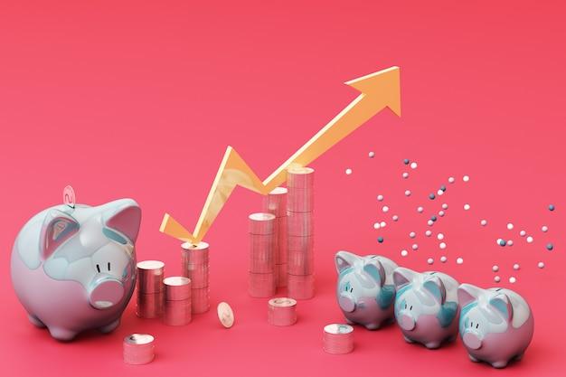 Concepto de ahorro de dinero, muestra de ingresos ricos en negocios como pila de monedas flecha creciente con hucha sonrisa sobre monedas pila representación 3d