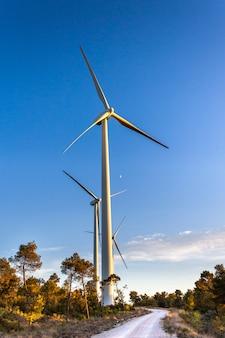 Concepto de ahorro de energía con vista panorámica desde la estación de aerogeneradores con fondo de cielo azul