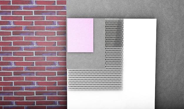 Concepto de aislamiento térmico de pared de ladrillo en capas sobre fondo blanco - ilustración 3d
