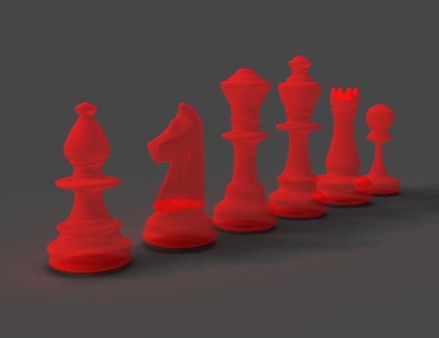 Concepto de ajedrez 3d sobre fondo gris. ilustración procesada