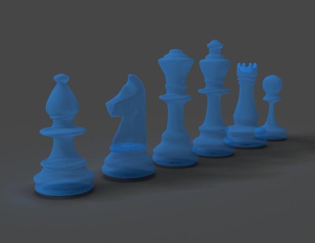 Concepto de ajedrez 3d sobre fondo gris. renderizado illustration3