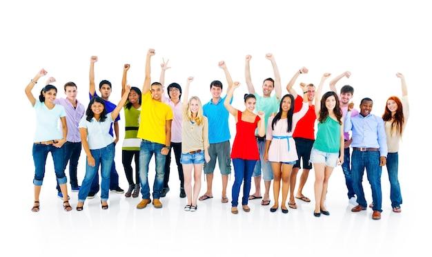 Concepto alegre de los estudiantes de la cultura joven de la gente del éxito junto