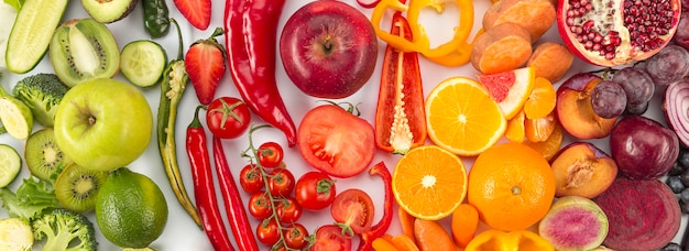 Concepto de alimentación saludable en colores degradados