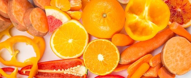 Concepto de alimentación saludable comida naranja