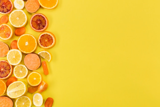Concepto de alimentación saludable y espacio de copia