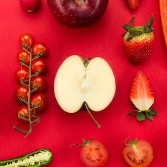 Concepto de alimentación saludable mitades de fruta
