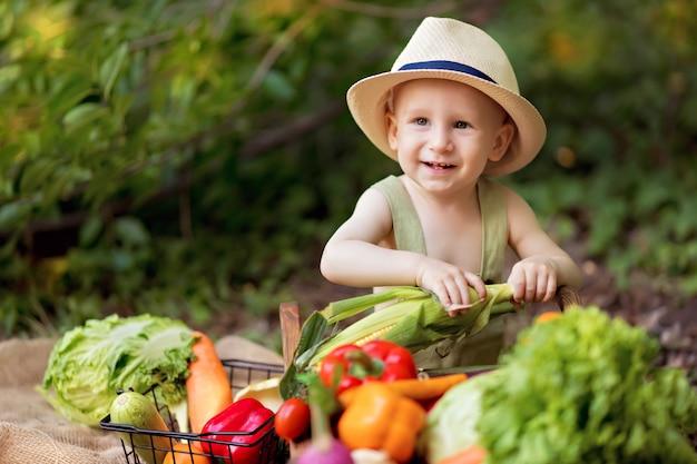 Concepto de alimentación saludable niño en la naturaleza recoge una cosecha de verduras en un carrito y prepara ensalada