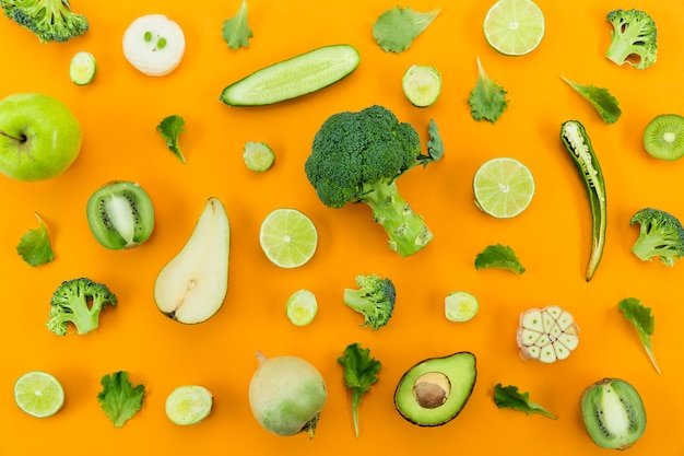Concepto de alimentación saludable verduras verdes
