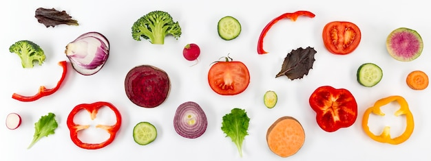 Concepto de alimentación saludable vista superior
