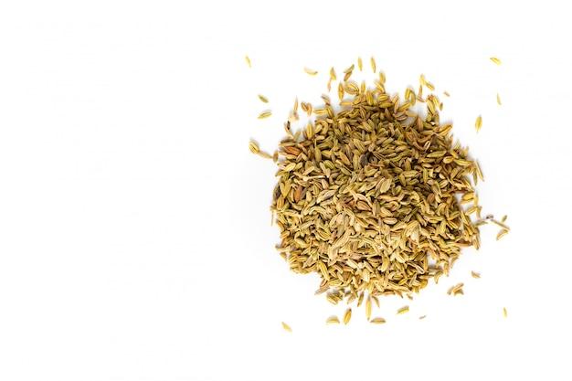Concepto de alimentos especias orgánicas hinojo semillas en blanco