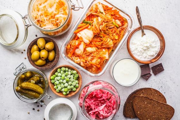 Concepto de alimentos probióticos.