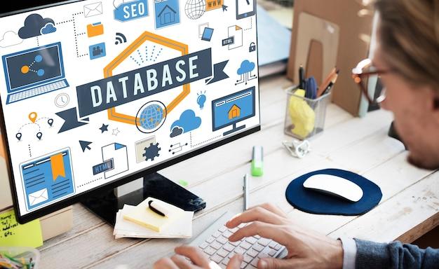 Concepto de almacenamiento digital del sistema informático de base de datos