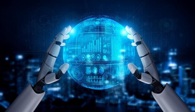 Concepto de análisis de robot con panel de datos