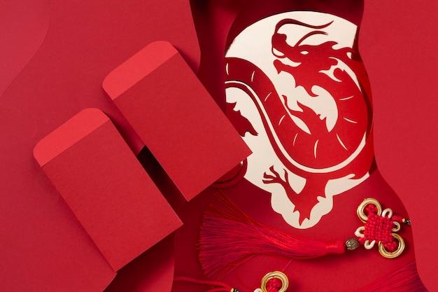 Concepto de año nuevo chino en estilo isométrico