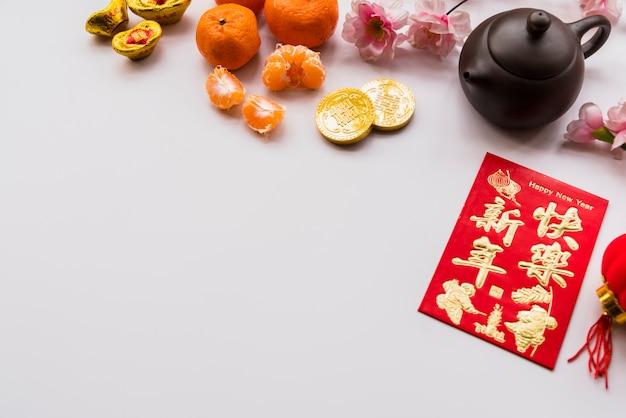 Concepto de año nuevo chino con tetera