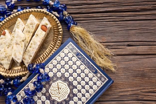 Concepto de año nuevo islámico de vista superior