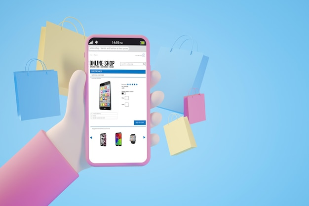 Concepto de aplicación de compras en línea renderizado 3d