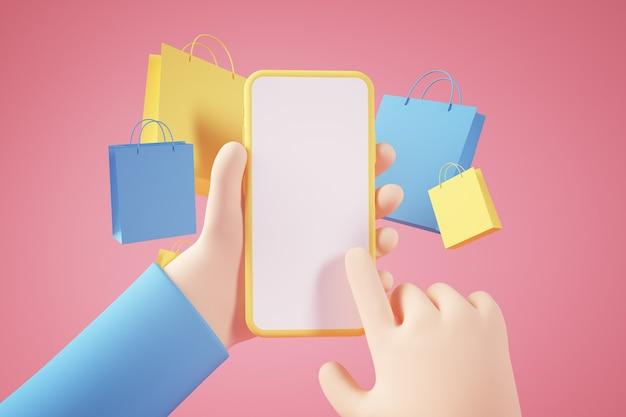 Concepto de aplicación en línea de compras
