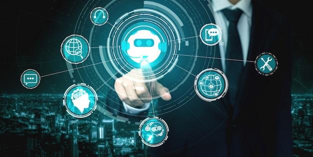 Concepto de aplicación de servicio al cliente digital inteligente ai chatbot.