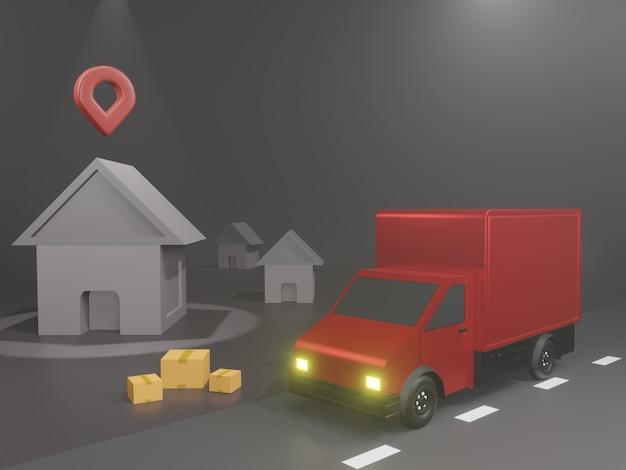 Concepto de aplicación de servicio de entrega en línea y camioneta de entrega con mapa