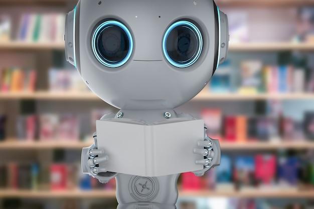 Concepto de aprendizaje automático con renderizado 3d lindo robot de inteligencia artificial lee el libro