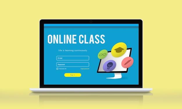 Concepto de aprendizaje electrónico de conocimiento de estudio de formación
