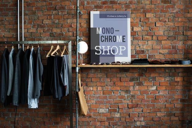 Concepto del armario del traje del estante de la suspensión de ropa