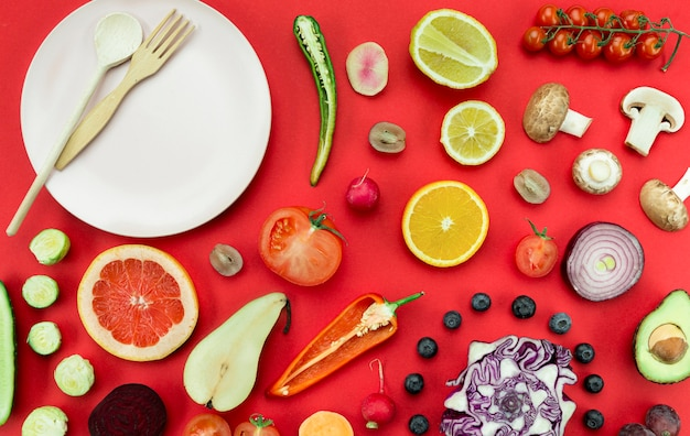 Concepto de arreglo de alimentación saludable