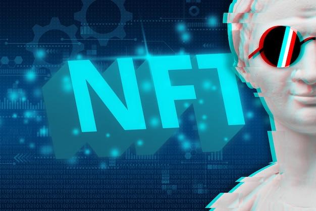 Concepto de arte digital moderno nft o token no fungible junto a un retrato de una estatua con gafas.