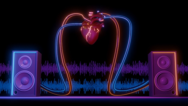 El concepto de arte musical se crea a partir del sistema de altavoces del corazón en el soporte, el espacio de trabajo del escenario o el arte de fondo. representación 3d.