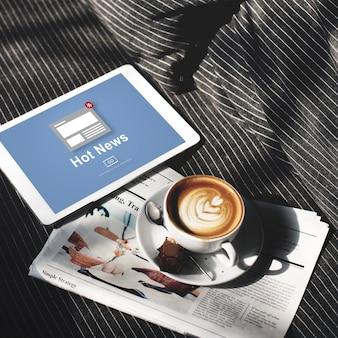 Concepto de artículo de difusión de anuncio de noticias calientes