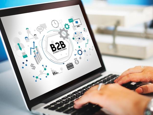 Concepto de asociación de conexión corporativa b2b de empresa a empresa