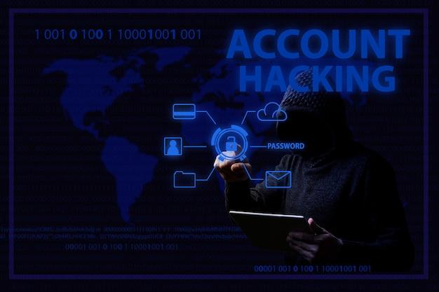 Concepto de ataques de piratas informáticos y pirateo de cuentas con un hombre sin rostro con capucha e iluminación azul