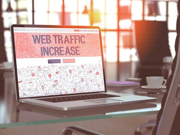 Concepto de aumento de tráfico web. página de inicio de primer plano en la pantalla del portátil en estilo de diseño doodle. en el fondo del cómodo lugar de trabajo en la oficina moderna. imagen borrosa y tonificada. render 3d.