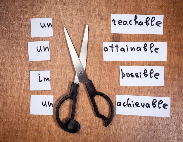 Concepto de auto motivación. palabras negativas cortadas con tijeras.