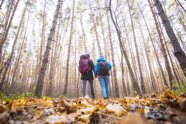 Concepto de aventura, viajes, turismo, caminata y personas - pareja joven con mochilas en el bosque