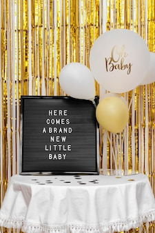Concepto de baby shower con globos