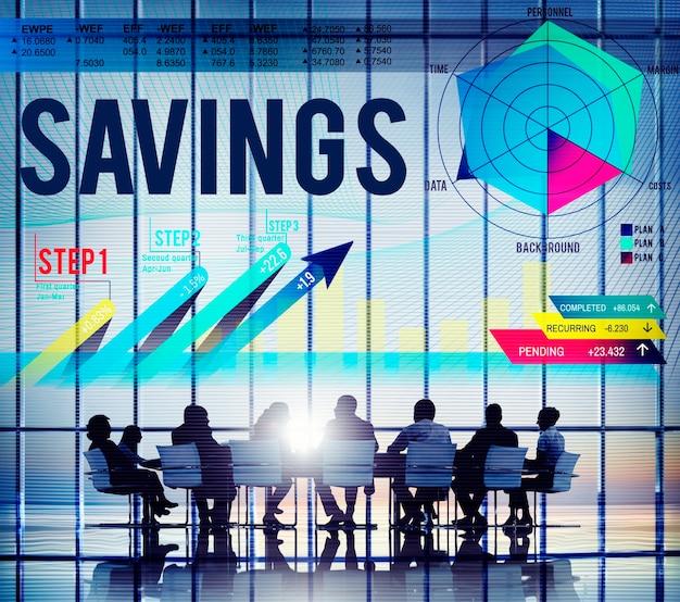 Concepto de banca de ahorro de finanzas de economía de ahorro