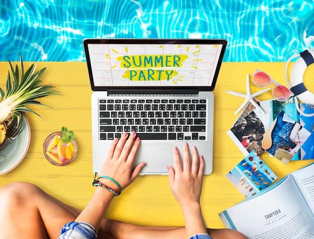 Concepto de banner de fiesta divertida de vacaciones de verano