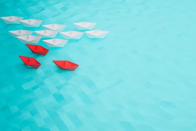 Concepto de barco líder, triunfo y éxito del barco rojo, concepto de éxito empresarial, renderizado de ilustración 3d