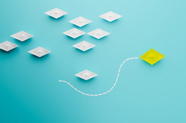 Concepto de barco líder, victoria y éxito del barco amarillo de vista superior, concepto de éxito empresarial, representación de ilustración 3d