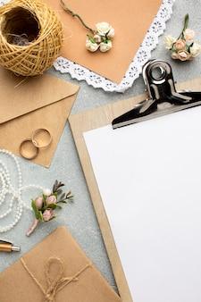 Concepto de belleza de boda de espacio de copia de portapapeles