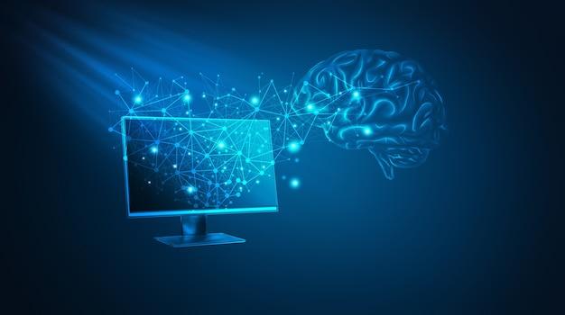 Concepto de big data e inteligencia artificial. ilustración 3d