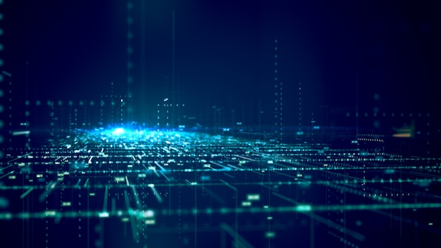 Concepto de big data patrón de concepto de código binario y estructura de big data.