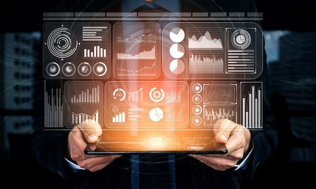 Concepto de big data technology for business finance.