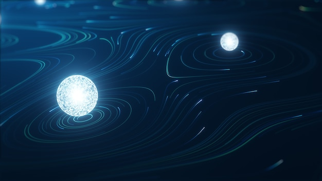 Concepto de big data de tecnología abstracta. gráfico de movimiento para centro de datos abstracto, flujo de datos. transferencia de big data y almacenamiento de blockchain, servidor, internet de alta velocidad. representación 3d.