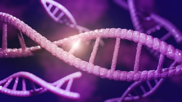 Concepto de bioquímica con molécula de adn, renderizado 3d